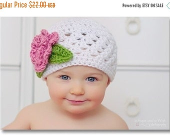 ON SALE Baby Girl Crochet Beanie Hat with Flower, Crochet Baby Hat, Toddler Hat, White, Pink,  Baby Girl Hat, Crochet Hat, Baby Girl, MADE T