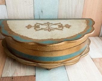 Vintage Scalloped Wood Jewelry Box