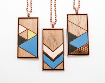Painted Geometric Pendant - Laser Cut Wood Necklace (Choose Your Pattern) - Cobalt Blue, Pale Pink, Black, Metallic Gold