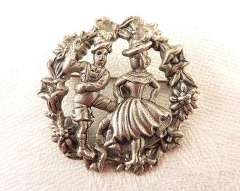 Vintage Openwork Wreath of Swiss Dancers Silver Tone Brooch