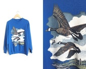 National Wildlife Federation Sweatshirt - Royal Blue Sweater - Flying Geese - Unisex Vintage '90s. Size Men's M or Women's L.