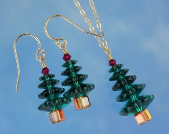 Emerald and Ruby Christmas tree gold necklace and earring set -green and red Swarovski crystals on 14k gold filled - free shipping USA