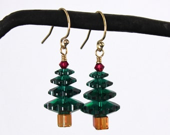Emerald green & ruby crystal Christmas tree gold earrings - with Swarovski crystals - 14k gold filled hooks - free shipping USA