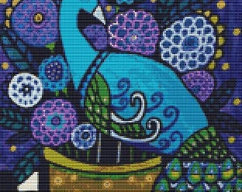 Modern Cross Stitch Kit 'Peacock' By Heather Galler - Blue Peacock CrossStitch Kit