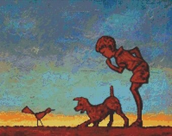 Cross Stitch Kit By Robert Bretz - Boy Pet Dog Bird Contemporary Art 'Hello There'