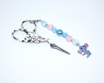 Mini Scissor Fob, Blue Beads, Keyring, Cross Stitch Accessory, Koala Charm, Needlecraft gift,  Pendant Keyring, Bag Chain