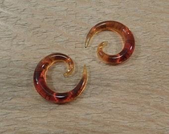 Glass spiral 4g amber glass size 4 gauge