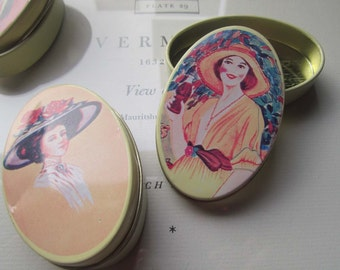 3 Small Oval Tins * Art Gift Tins * Salve Container * Small Oval Boxes * 1970's Oval Tin Containers * Crafting Herbalist Gift *  Hong Kong