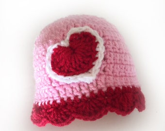 Custom Valentine Baby Hat Hand Crocheted Baby Girl Hat with Heart Valentine's Day