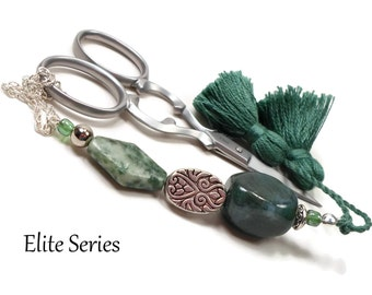 Scissor Fob Beaded Scissor Keeper Scissor Minder Green Marbled Key Fob Needlepoint Quilting Sewing Cross Stitch