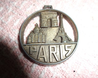free ship, made in France, METAL PENDANT PARIS, Eiffel Tower, Vintage, bronzetone, lightweight, Great Shape