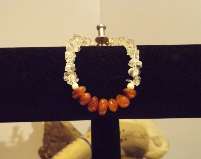 Carnelian and Clear Quartz Healing Bracelet, Healing Crystal and Gemstone Jewelry, Healing Jewelry, Healing Crystal and Stones,