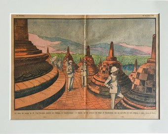 Antique Print of Borobudur, Java, Indonesia - 1931 French Vintage Print - Professionally Matted, Ready to Frame