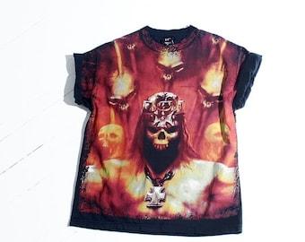 HURRY HALF OFF 90s Skull Tshirt // black shirt demon skull, flame shirt, band shirt, rock shirt, punk metal shirt, unisex, vintage 90s grung