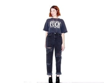 OMG HALF OFF perfect black jeans ripped jeans 27 waist / skinny jeans mom jeans vintage high waisted jeans boyfriend jeans distressed jeans