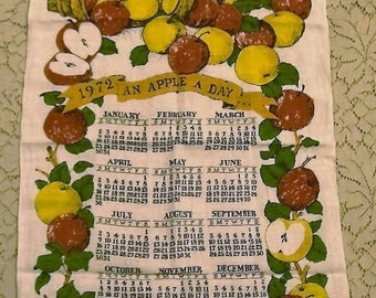 1972 Linen Calendar Towel, An Apple A Day, red apples, Kitchen Towel, Wall Hanging, Vintage Dish Towel, Vintage Kitchen, Vintage Linens