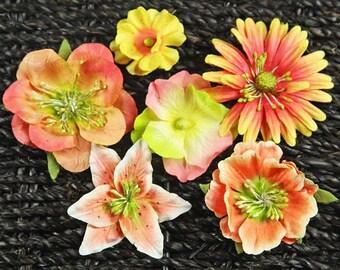 "Prima flowers- set of 6 paper flowers ""Sunset Melange"""