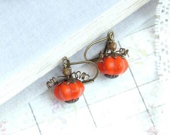 Orange Pumpkin Earrings Fall Earrings Autumn Earrings Pumpkin Jewelry Woodland Earrings Fall Jewelry