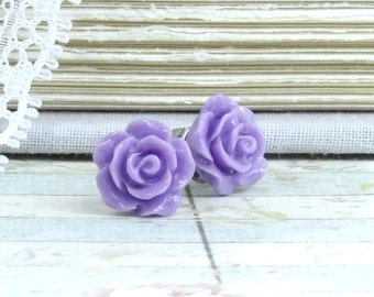 Purple Rose Earrings Rose Stud Earrings Purple Studs Hypoallergenic Purple Flower Earrings Purple Earrings