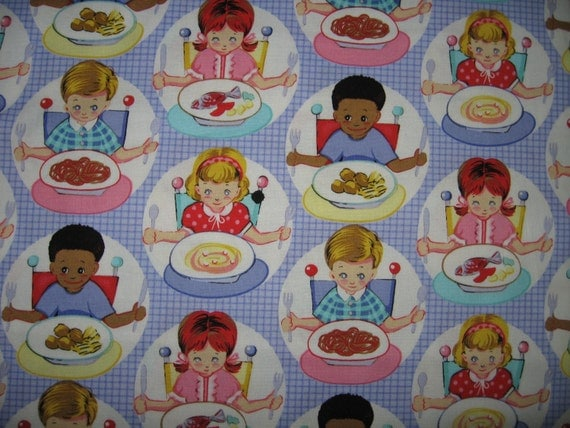 Children cotton fabric by the yard blue highchair fork for Childrens cotton fabric by the yard