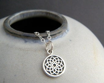 """tiny silver crown chakra necklace. small yoga charm sterling silver yogi pendant gift simple zen dainty delicate everyday jewelry 7th 3/8"""""""