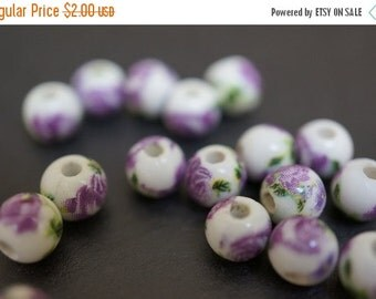 FALL CLEARANCE Japanese White Round Porcelain Beads with Classic Rich Lilac Rose Flowers Beads - 6mm - 6 pcs