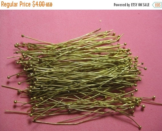 ON SALE Medium Size -  Natural Raw Brass Ball Pins - Approx 1.25  Inches or 35mm Long (0.6mm thick or 24 gauge)- 150 pcs