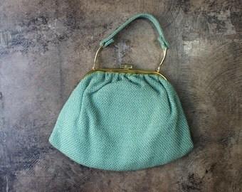 1960's Green Handbag / Top Handle Vintage Purse