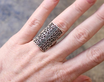 Marcasite Shield RING / Vintage Sterling Jewelry / Art Deco Style Silver Size 7 Ring