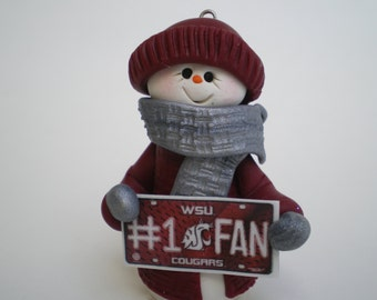 """Snowman Ornament holding a sign """"#1 WSU Cougars"""" - Polymer Clay Ornament by Helen's Clay Art"""