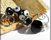 Black & White Bead Set (6) Lampwork Beads -SRA