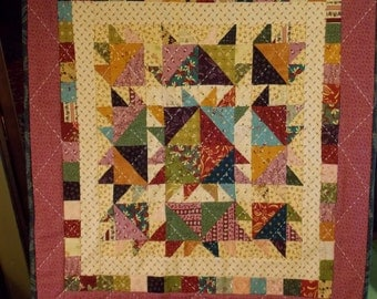 Hand quilted Scrappy mini postage stamp sampler quilt wall hanging or table topper