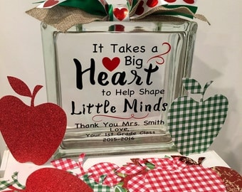 Teacher Appreciation Message Block- Students write notes on apple cardstock for their teacher and add them to the glass block- keepsake