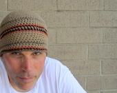 men's summer linen beanie/ khaki stripe crochet