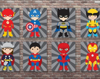 Superhero Wall Art, Superhero Art,Superhero Sign, Set, DIGITAL, YOU PRINT, Superhero Nursery,Captain American Art, Batman Art, Superman Art
