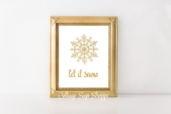 Let it Snow, Holiday Decor, Winter Decor, Winter Wall Art, Winter Themed Art, INSTANT DOWNLOAD, Christmas Wall Art, Christmas Wall Decor