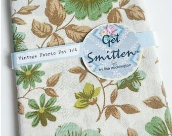 Green, Brown and Olive Floral and leaf 1960s English Vintage Fabric Fat Quarter