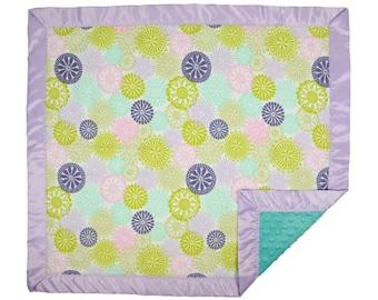 Pastel Pinwheels Baby Blanket w/ Satin