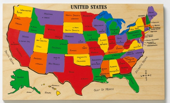 US Map Puzzle State Capitals Learning States And Capitals - Us map with capitals and states