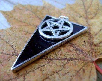 Pentagram Stained Glass Jewelry Pendant Necklace Iridescent Purple Triangle Gothic Pagan Wicca Halloween Samhain Canadian Original Design©