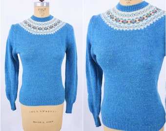 1960s sweater vintage light blue turquoise fair isle Garland pullover sweater S