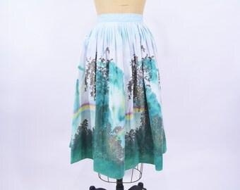 "1950s skirt vintage 50s rainbow Millworth waterfall novelty print blue cotton full skirt XS W 24"""
