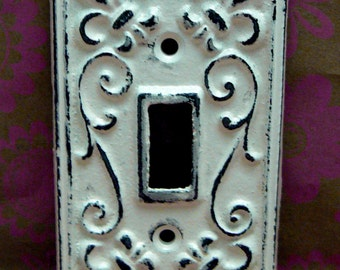 Fleur de lis Cast Iron Light Switch Plate Cover Single Wall FDL Shabby Style Chic Distressed Rustic French Decor Creamy Off White ( Ecru)