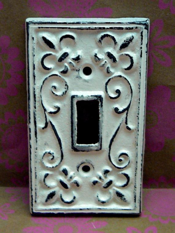 Fleur de lis cast iron light switch plate cover single wall