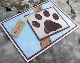 Big Paw Print Dog Sympathy Card in Blue