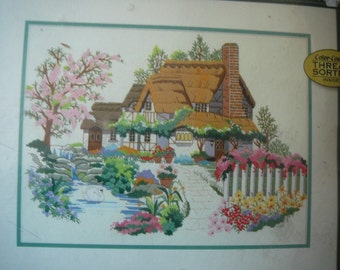 """Andres Orpinas - """"Swan Cottage"""" - Crewel Embroidery Kit from Dimensions Gold Collection"""