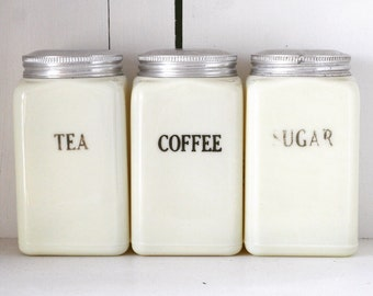 Set of Three McKee Custard Canisters Tea, Coffee, Sugar