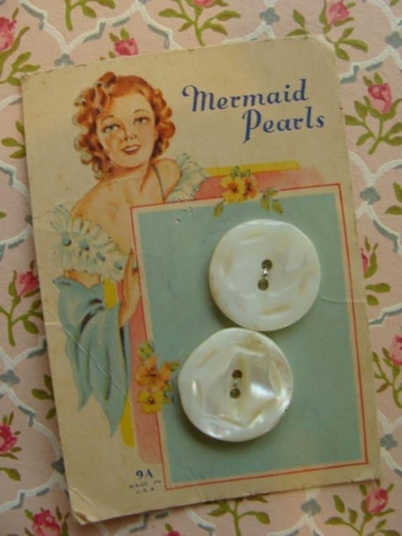 Rare 1920s Antique Genuine Pearl Button Card