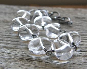Crytal Quartz Chunky Statement Bracelet, Clear Stone Sterling Silver Bracelet