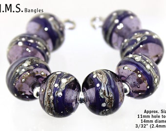 Lampwork Beads, 6 Handmade Transparent/Opaque Purple round lampwork beads w/Silvered Ivory & Wire, Made to Order, Glass Beads, Bims Bangles